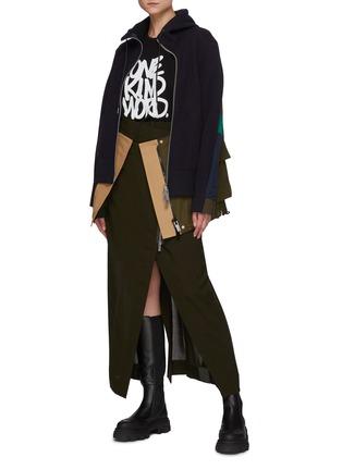 Figure View - Click To Enlarge - SACAI - Asymmetrical Front Slit Zip Long Skirt