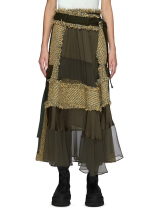 Main View - Click To Enlarge - SACAI - Canvas Tweed Patchwork Chiffon Wrap Maxi Skirt