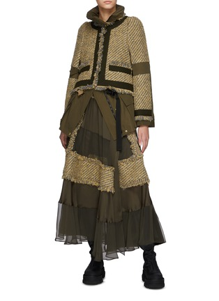 Figure View - Click To Enlarge - SACAI - Canvas Tweed Patchwork Chiffon Wrap Maxi Skirt