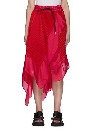 Main View - Click To Enlarge - SACAI - Wrap Effect Pleated Handkerchief Hem Drawstring Midi Skirt