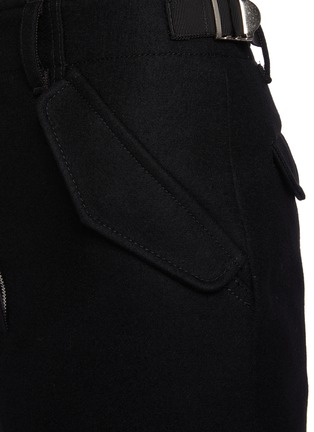 - SACAI - Wool Overlay Appliqued Maxi Skirt
