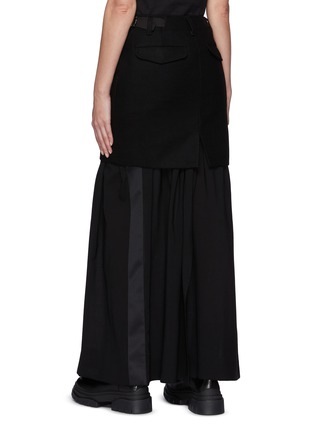 Back View - Click To Enlarge - SACAI - Wool Overlay Appliqued Maxi Skirt