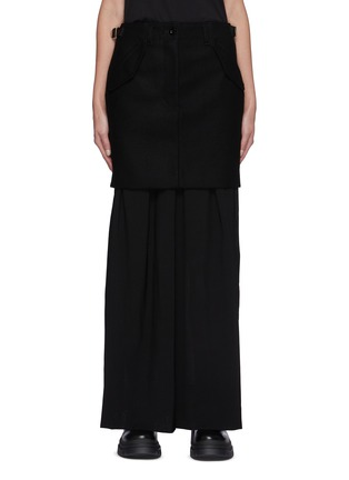 Main View - Click To Enlarge - SACAI - Wool Overlay Appliqued Maxi Skirt