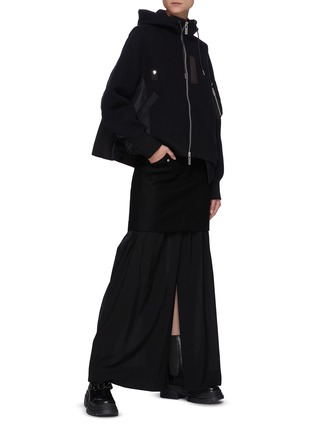 Figure View - Click To Enlarge - SACAI - Wool Overlay Appliqued Maxi Skirt