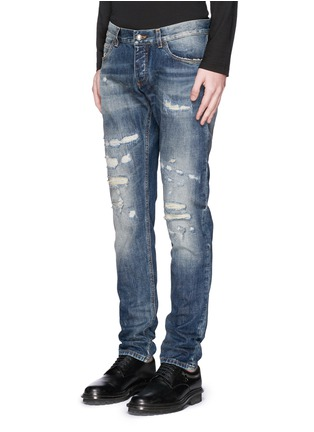 Front View - Click To Enlarge - Dolce & Gabbana - 'Gold 14' distressed jeans