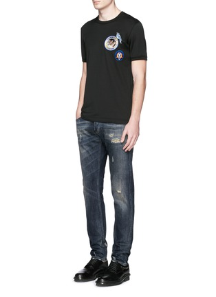 Figure View - Click To Enlarge - - - 'Gold 14' distressed jeans