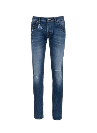 Main View - Click To Enlarge - Dolce & Gabbana - 'Gold 14' bird patch embroidery jeans