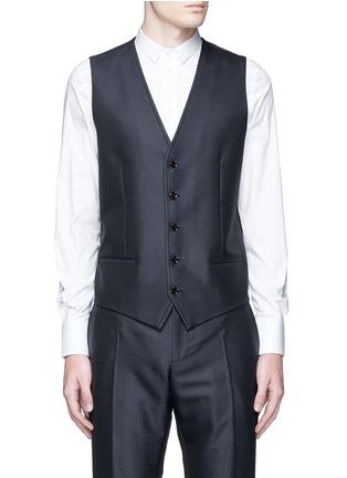 Detail View - Click To Enlarge - Dolce & Gabbana - Zigzag jacquard wool-silk satin three-piece tuxedo suit