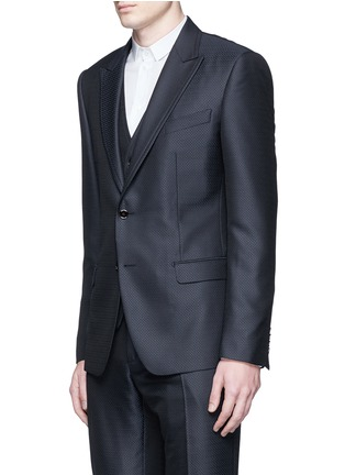 Front View - Click To Enlarge - Dolce & Gabbana - Zigzag jacquard wool-silk satin three-piece tuxedo suit