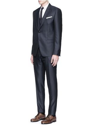 Figure View - Click To Enlarge - Dolce & Gabbana - Zigzag jacquard wool-silk satin three-piece tuxedo suit