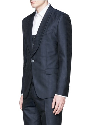 Front View - Click To Enlarge - Dolce & Gabbana - Diamond jacquard wool-silk three piece tuxedo suit