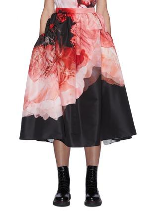 Main View - Click To Enlarge - ALEXANDER MCQUEEN - Gather Crush Petal Print Midi Skirt