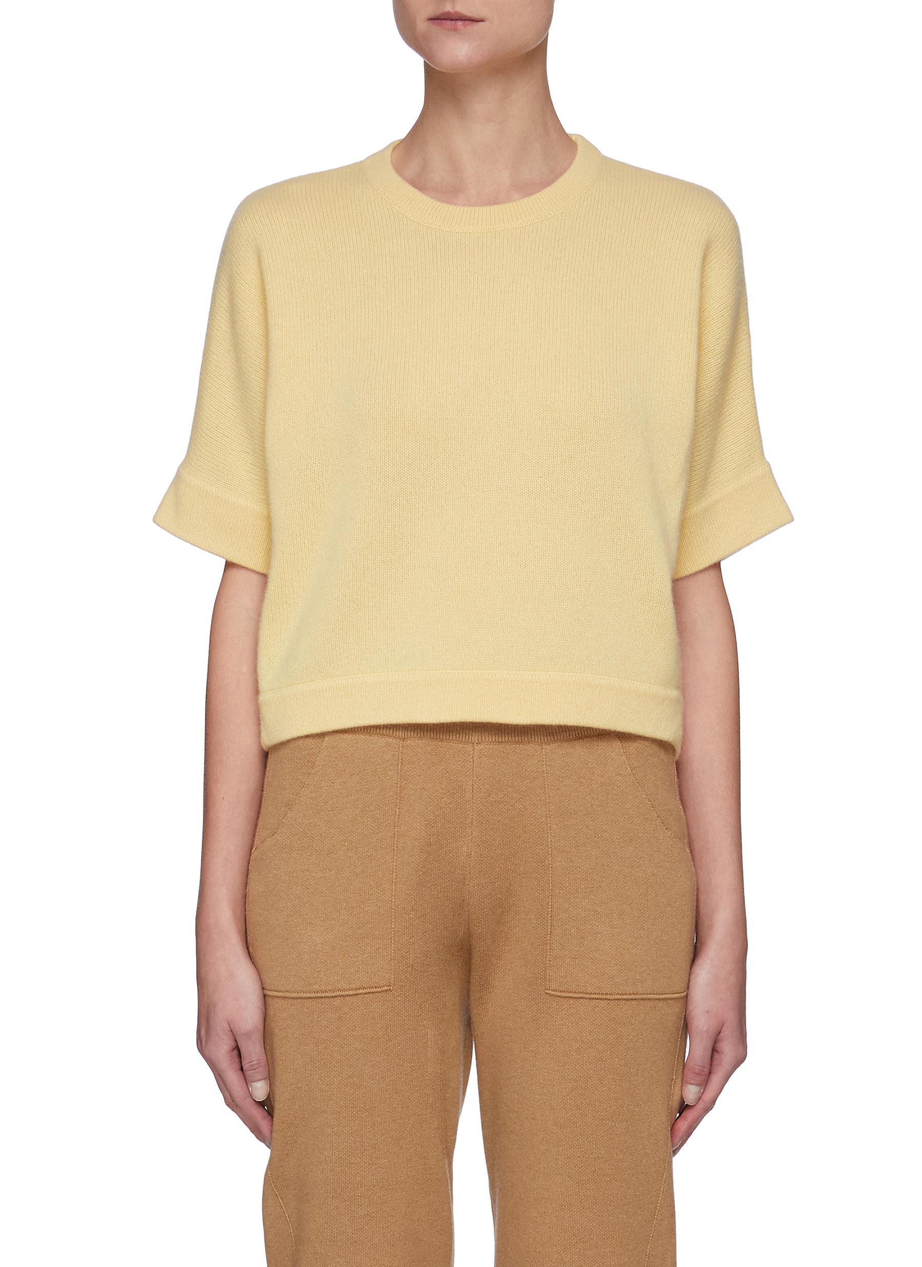 Cashmere Raglan Short Sleeve Crewneck Sweater
