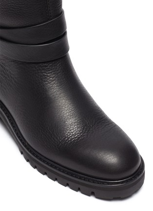 Detail View - Click To Enlarge - PEDRO GARCÍA - Leather Flat Almond Toe Ankle Boot With Buckle