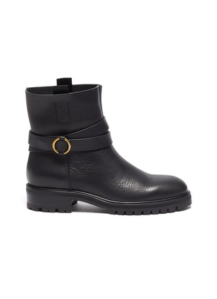 Main View - Click To Enlarge - PEDRO GARCÍA - Leather Flat Almond Toe Ankle Boot With Buckle