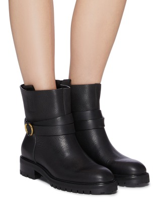 Figure View - Click To Enlarge - PEDRO GARCÍA - Leather Flat Almond Toe Ankle Boot With Buckle