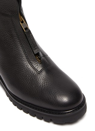 Detail View - Click To Enlarge - PEDRO GARCÍA - Flat Leather Zip Ankle Boot