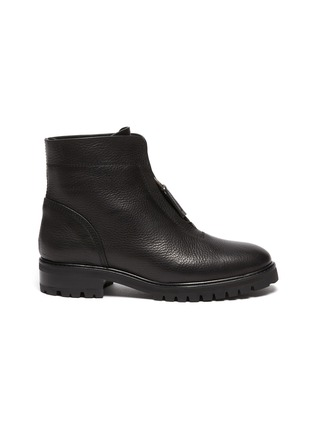 Main View - Click To Enlarge - PEDRO GARCÍA - Flat Leather Zip Ankle Boot