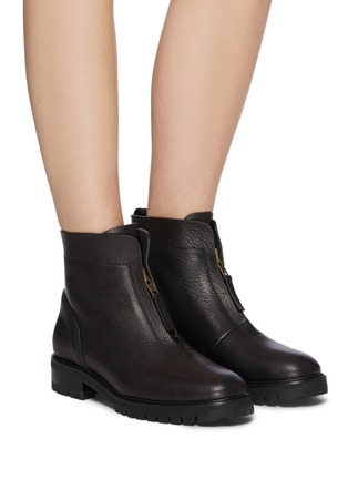 Figure View - Click To Enlarge - PEDRO GARCÍA - Flat Leather Zip Ankle Boot
