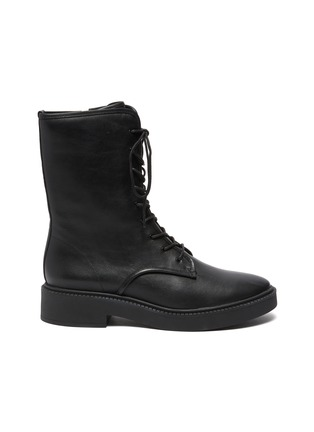 Main View - Click To Enlarge - VINCE - Kady Lace Leather Combat Ankle Boots