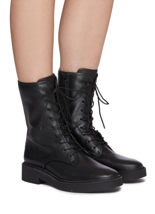 Figure View - Click To Enlarge - VINCE - Kady Lace Leather Combat Ankle Boots