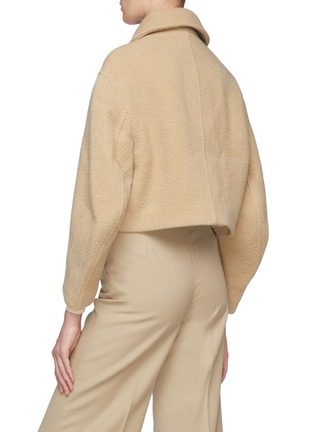 Back View - Click To Enlarge - SANS TITRE - Round Sleeve Cropped Wool Jacket