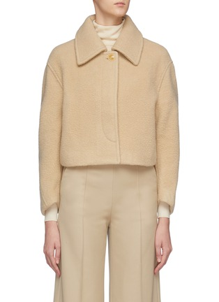 Main View - Click To Enlarge - SANS TITRE - Round Sleeve Cropped Wool Jacket