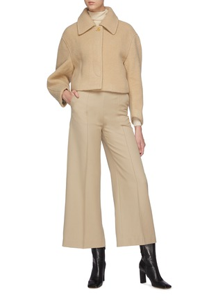 Figure View - Click To Enlarge - SANS TITRE - Round Sleeve Cropped Wool Jacket