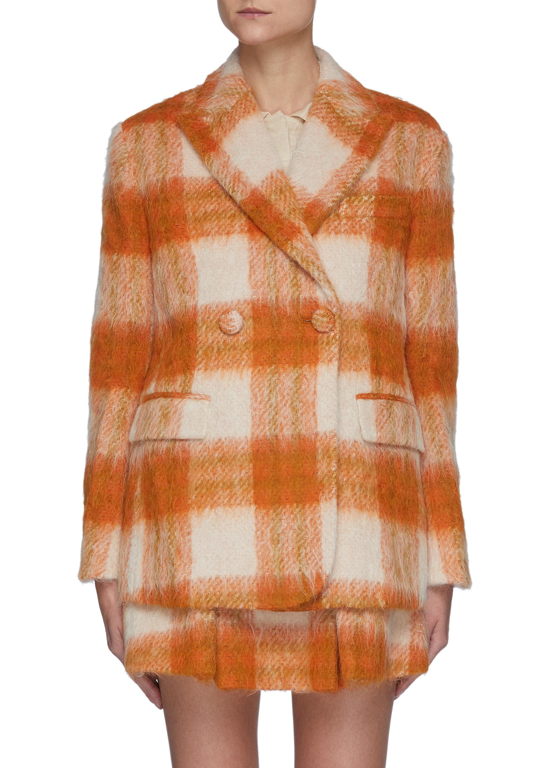 Plaid Sheep Wool Blend Double Breasted Blazer