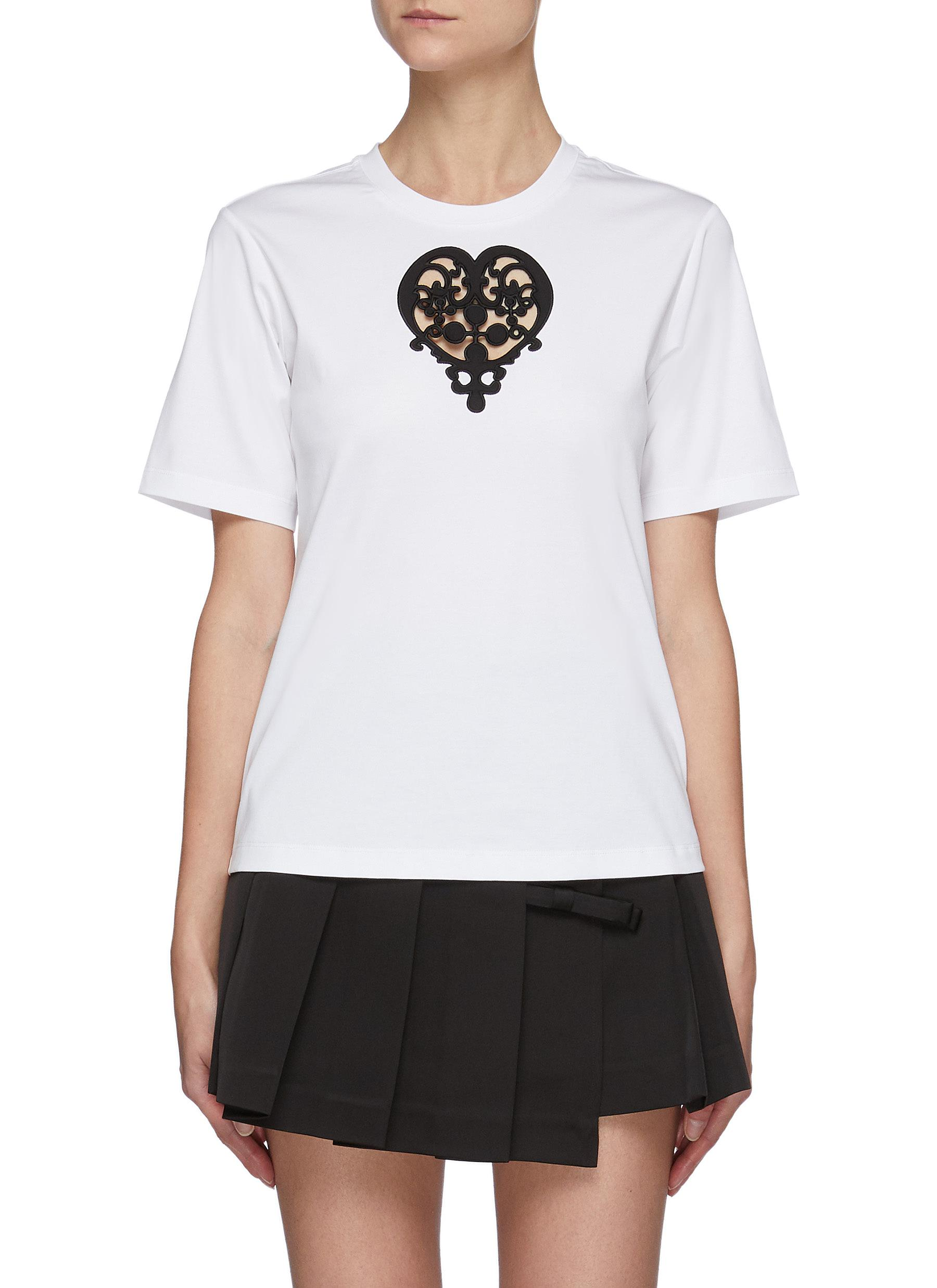 Heart Embroidered Chest Cut-out T-shirt