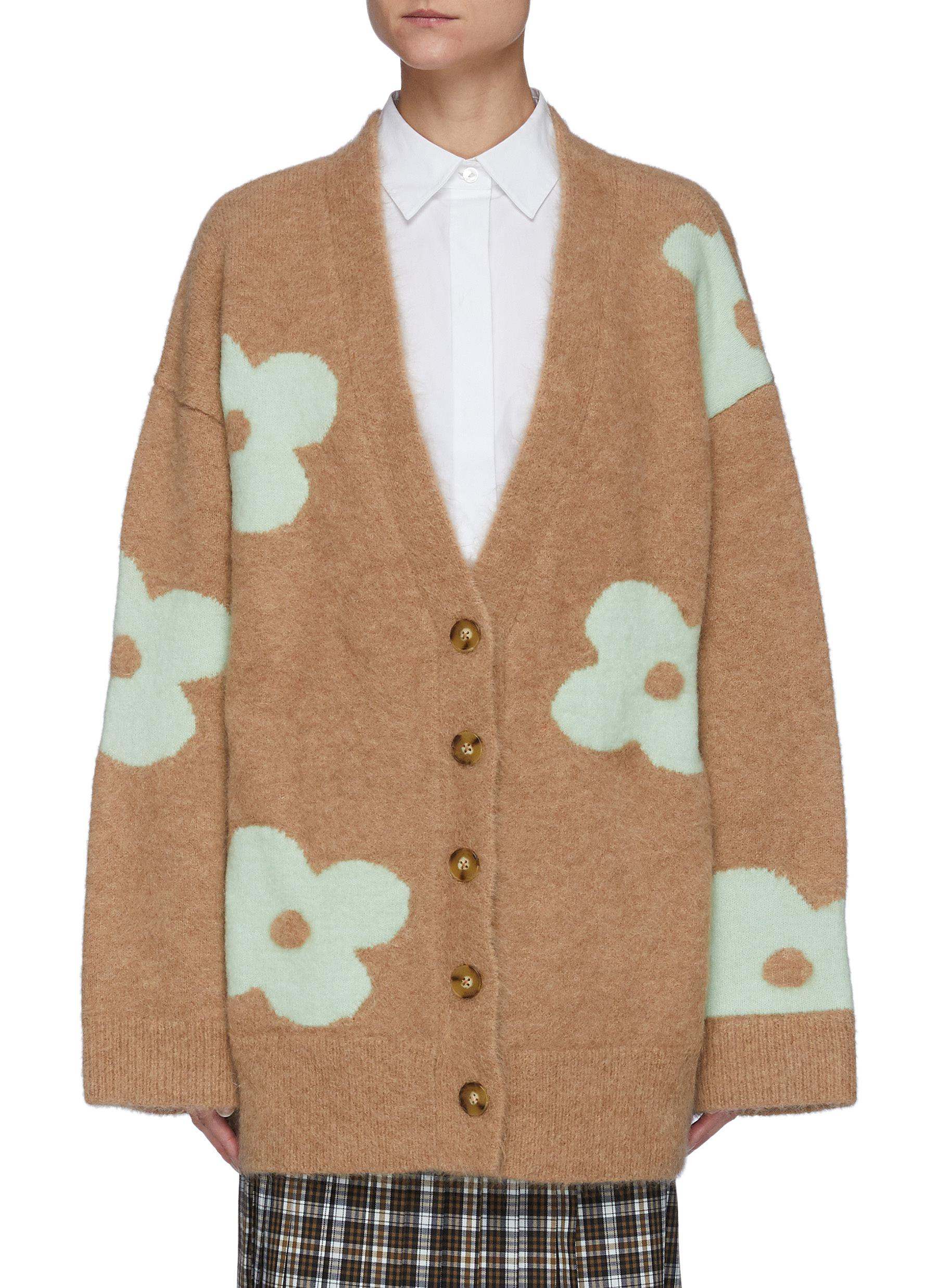 Oversized Floral Jacquard Alpaca Wool Blend Cardigan