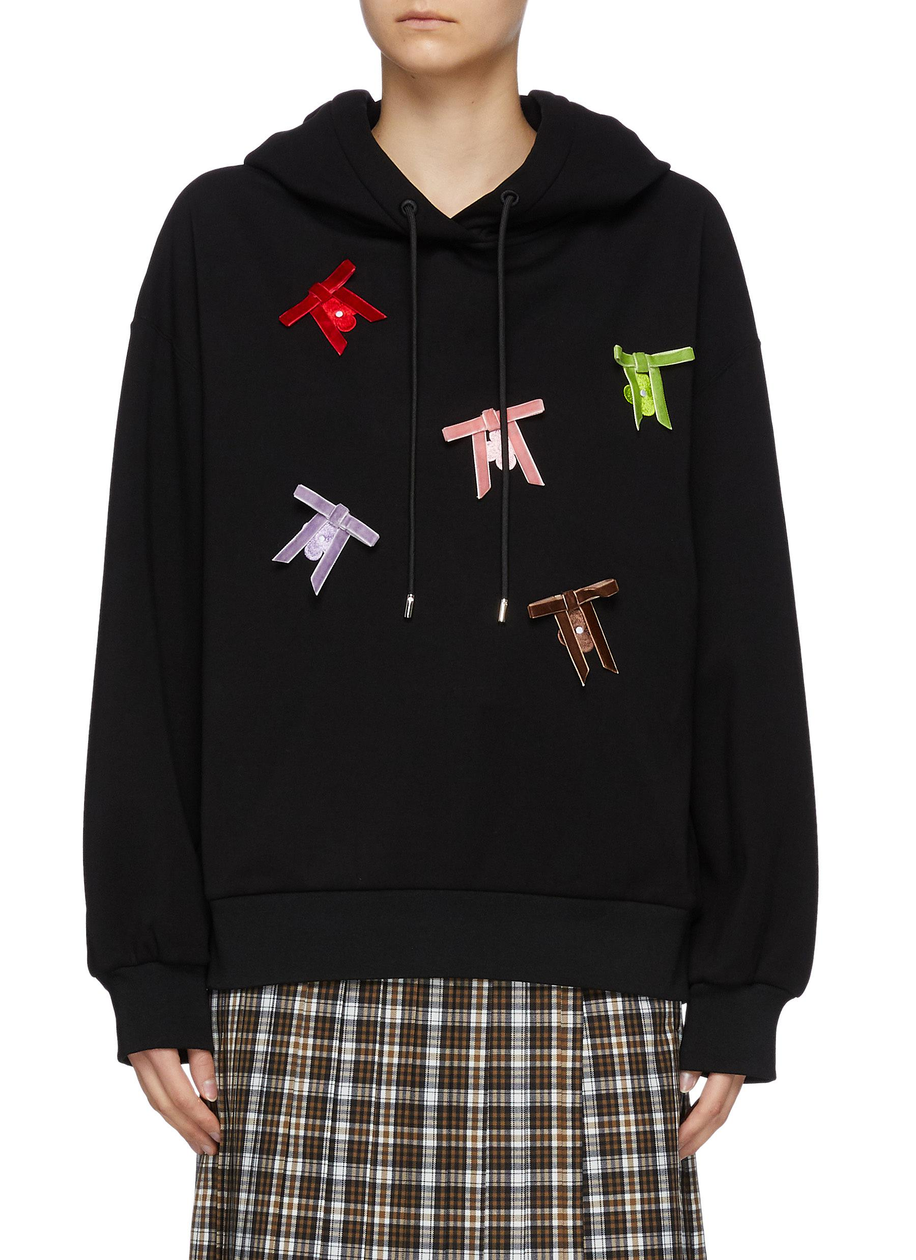Multi Coloured Bow Appliqued Cotton Blend Drawstring Hoodie