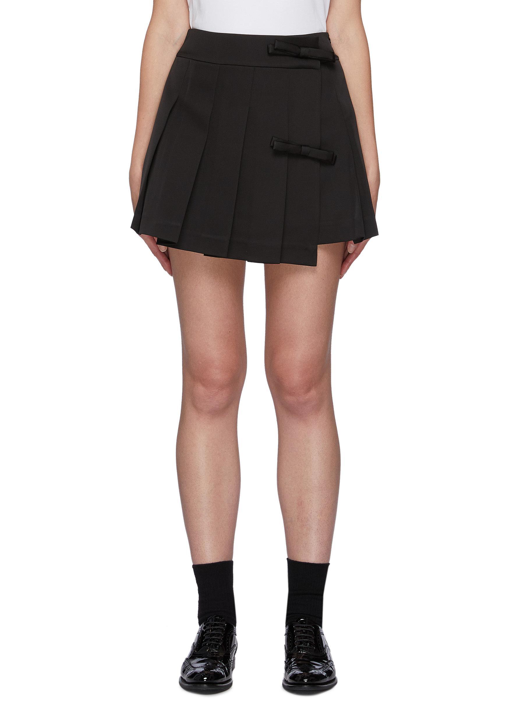 Bow Detail Pleated Mini Skirt