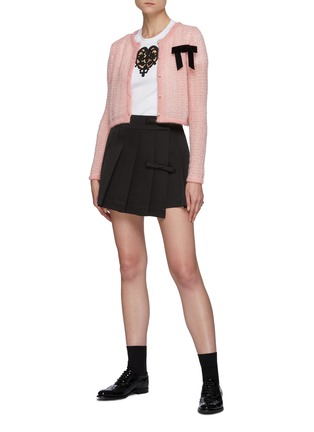 Figure View - Click To Enlarge - MING MA - Bow Detail Pleated Mini Skirt