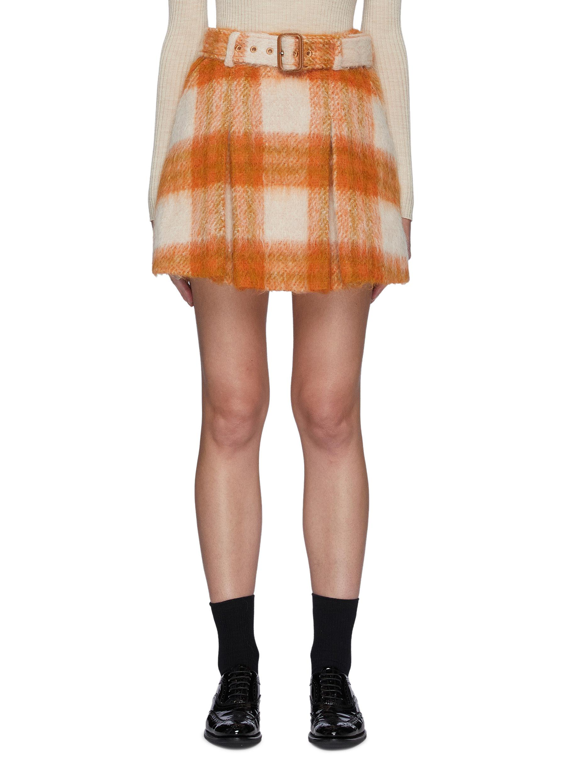 Belted Plaid Pleated Sheep Wool Blend Skirt
