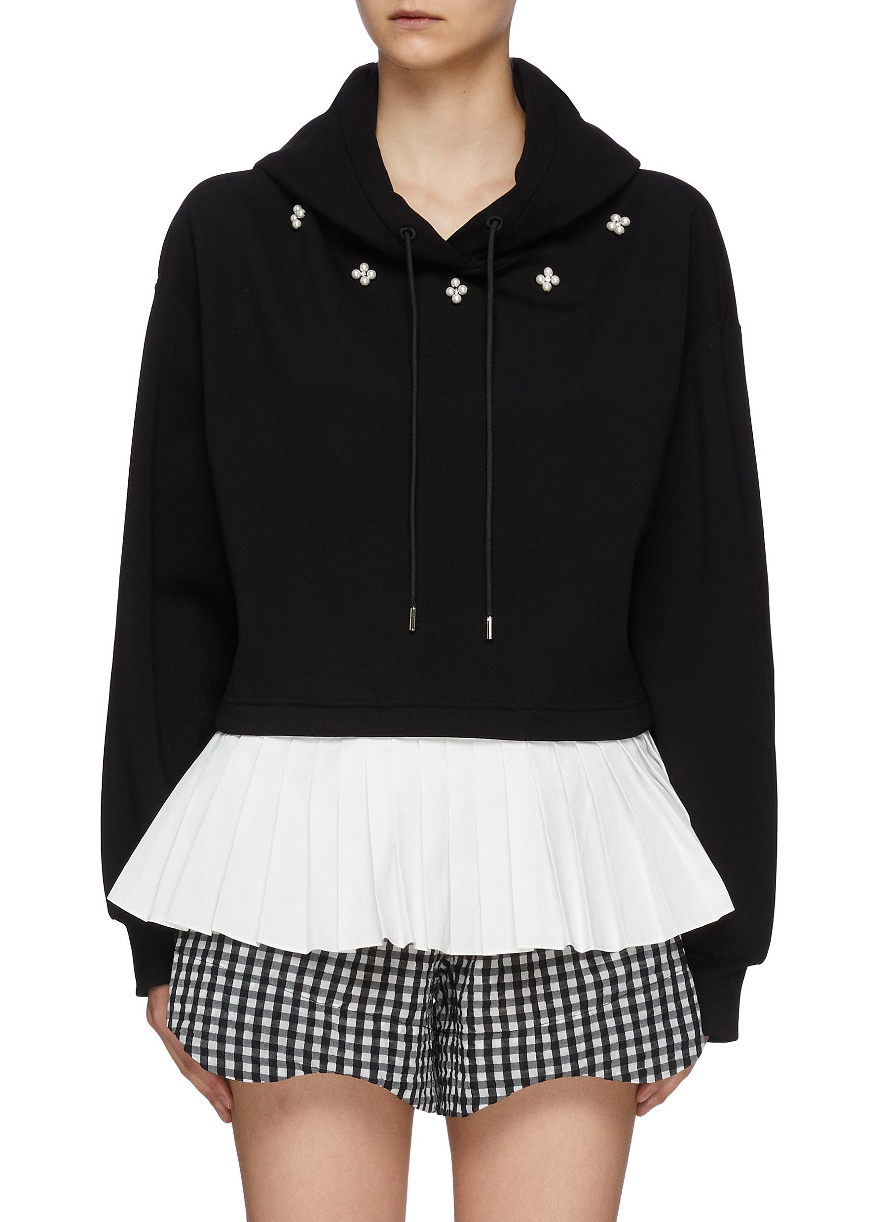 Pearl Appliqued Cotton Blend Drawstring Hoodie With Contrasting Pleated Hem