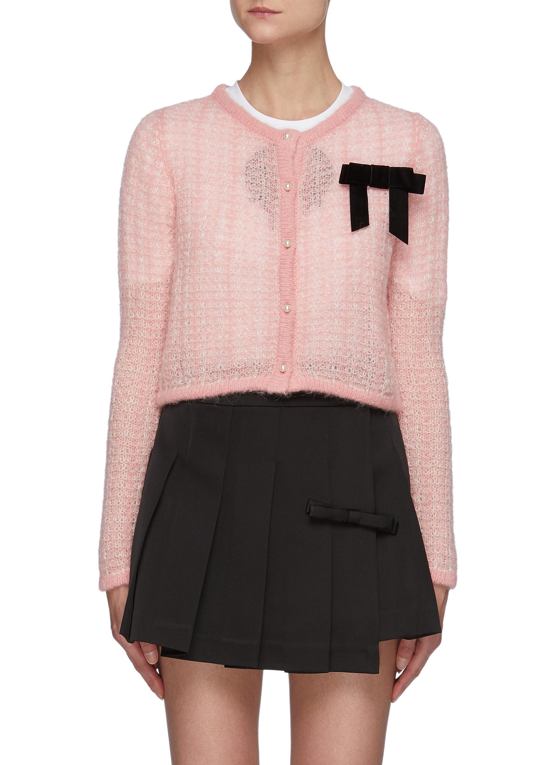 Chest Bow Detail Crop Cardigan