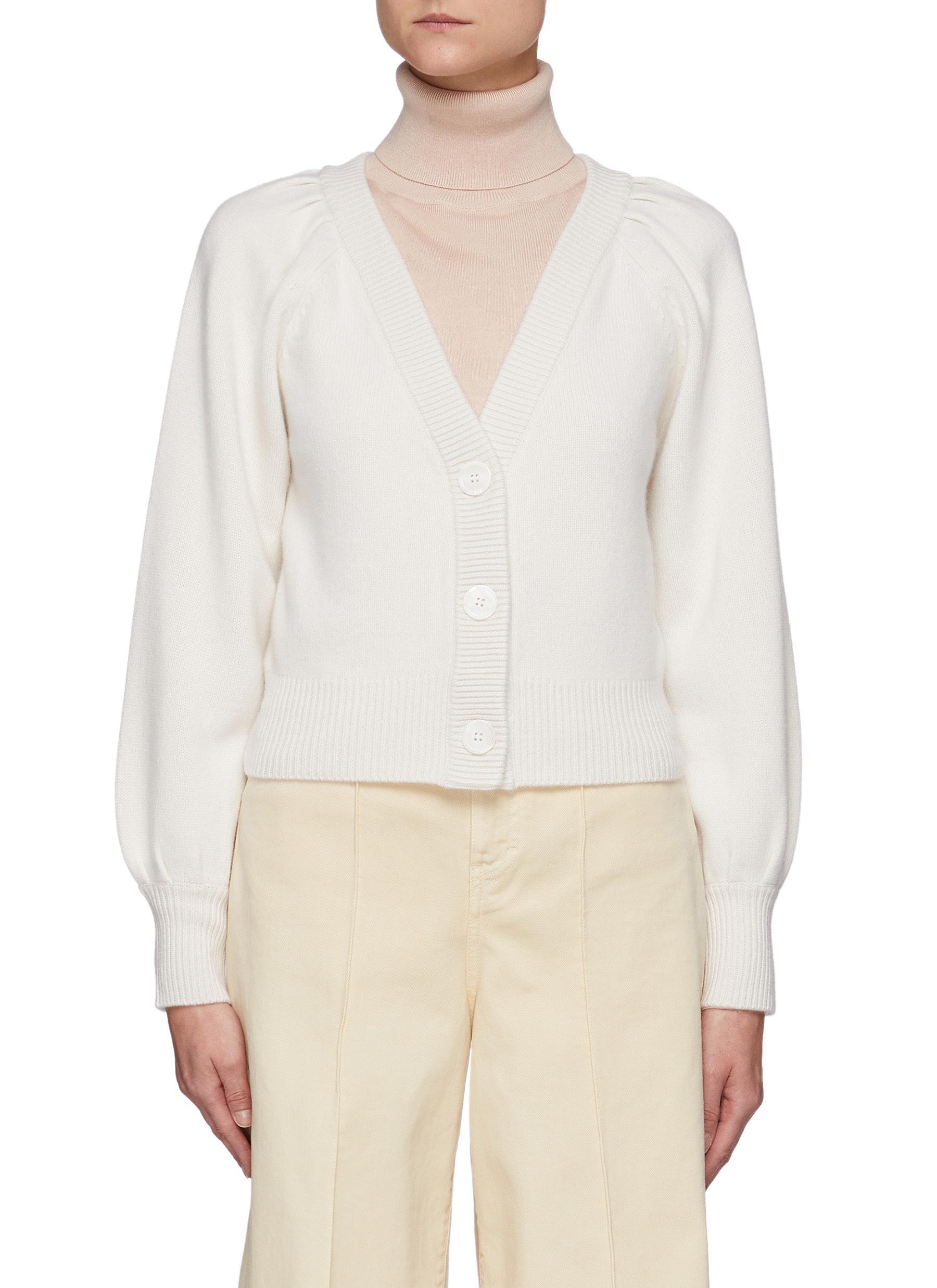 Puffed Sleeve Ribbed Trim Cashmere Cardigan