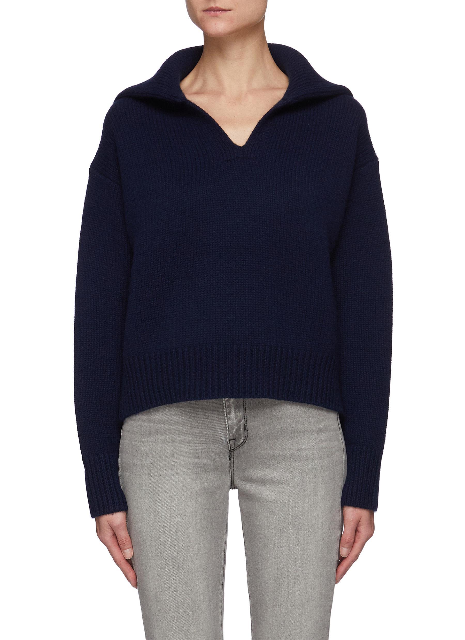 Sailor Collar Cashmere Wool Blend Knit Sweater