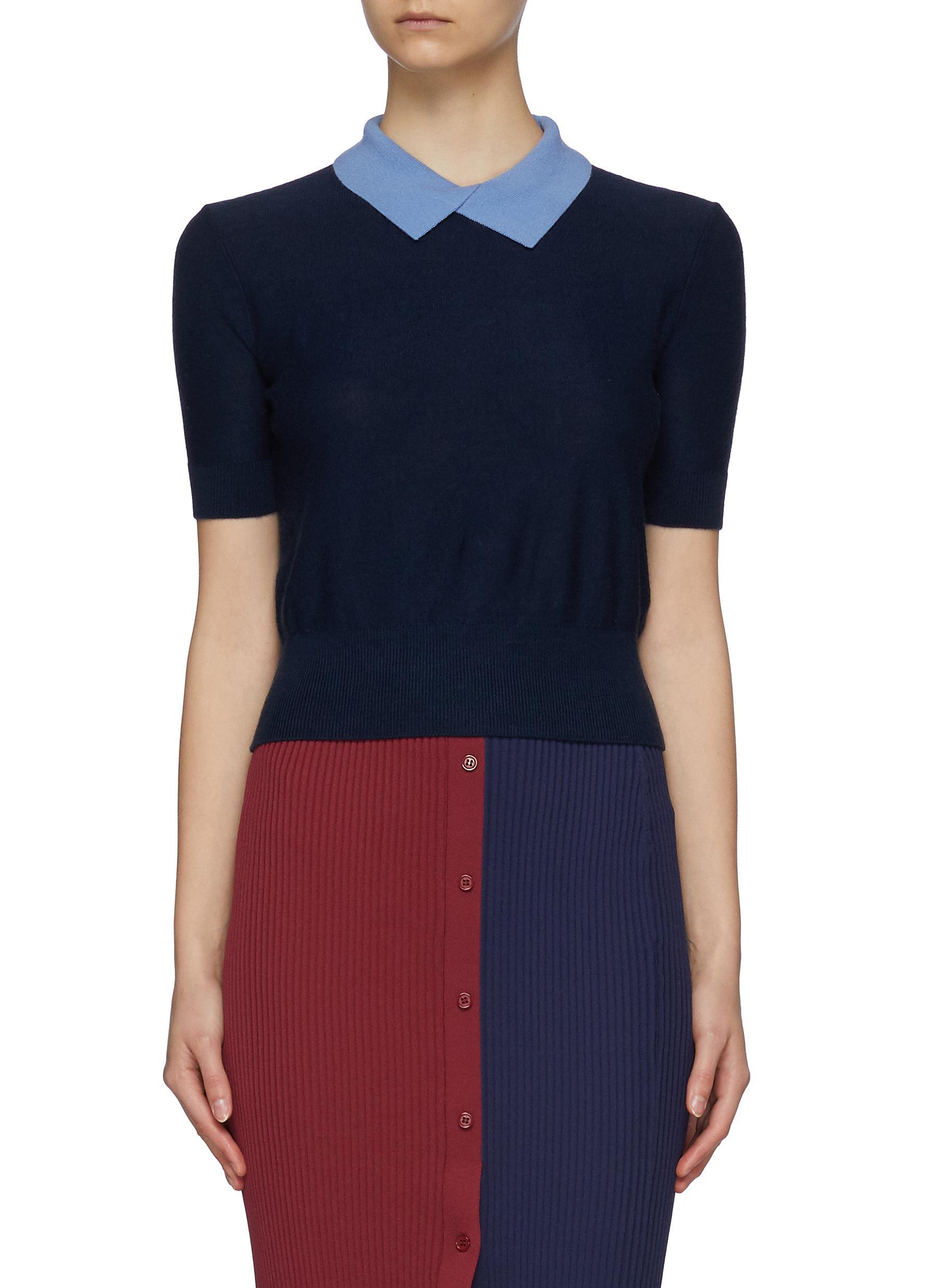Staud Asymmetric Polo Collar Merino Wool Blend Knit Top In Navy
