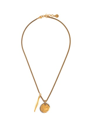 Main View - Click To Enlarge - ALEXANDER MCQUEEN - Antiquated Brass Pendant Necklace