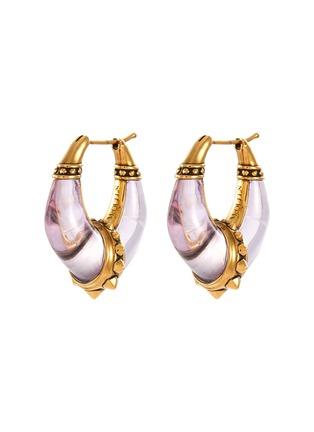 Main View - Click To Enlarge - ALEXANDER MCQUEEN - Evening Brass Resin Earrings