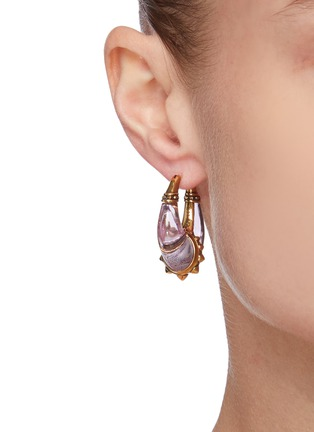 Figure View - Click To Enlarge - ALEXANDER MCQUEEN - Evening Brass Resin Earrings