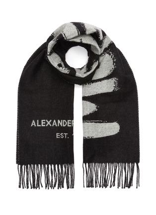 Main View - Click To Enlarge - ALEXANDER MCQUEEN - Graffiti Logo Jacquard Wool Scarf