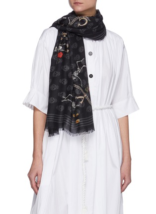 Figure View - Click To Enlarge - ALEXANDER MCQUEEN - Skull Skeleton Graphic Modal Scarf