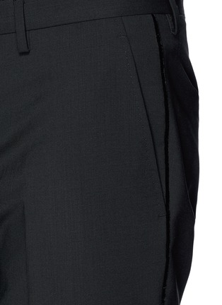 Detail View - Click To Enlarge - Lanvin - Velvet trim slim fit stretch wool pants