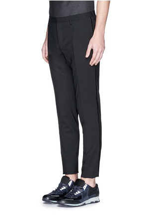 Front View - Click To Enlarge - Lanvin - Velvet trim slim fit stretch wool pants