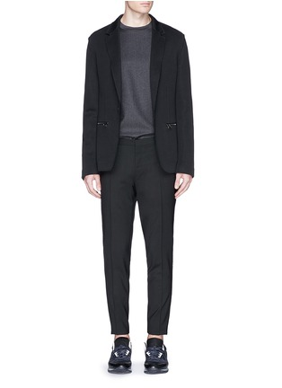 Figure View - Click To Enlarge - Lanvin - Velvet trim slim fit stretch wool pants
