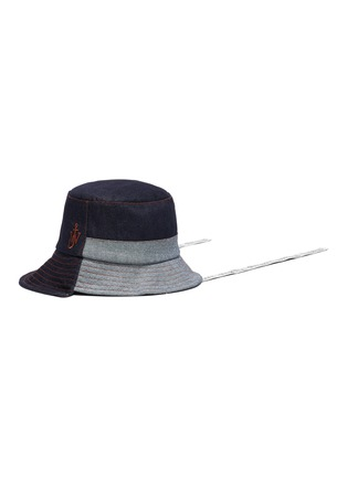 Main View - Click To Enlarge - JW ANDERSON - Logo Embroidered Asymmetric Denim Bucket Hat