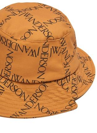 Detail View - Click To Enlarge - JW ANDERSON - Asymmetric Logo Grid Drawstring Bucket Hat